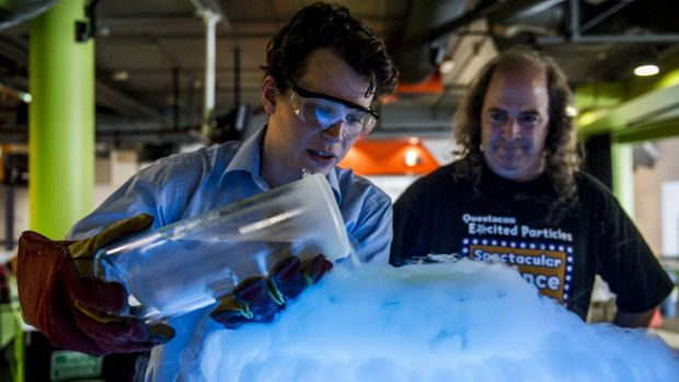 Excited Particles' Michael Bennett and Patrick Helean explore the physics of beer at Questacon.