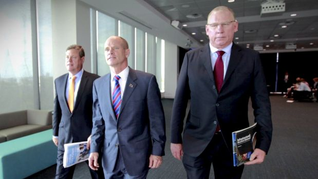 Deputy LNP leader Jeff Seeney with Campbell Newman and Tim Nicholls.