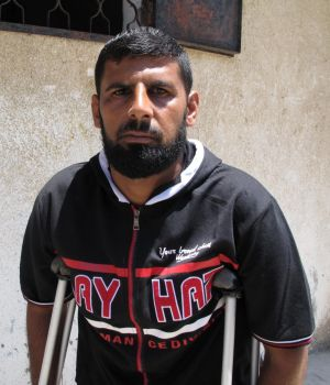 Mohamed Abu Jame, one of only three people who survived an air strike on his house in the town of Khan Younis in which ...