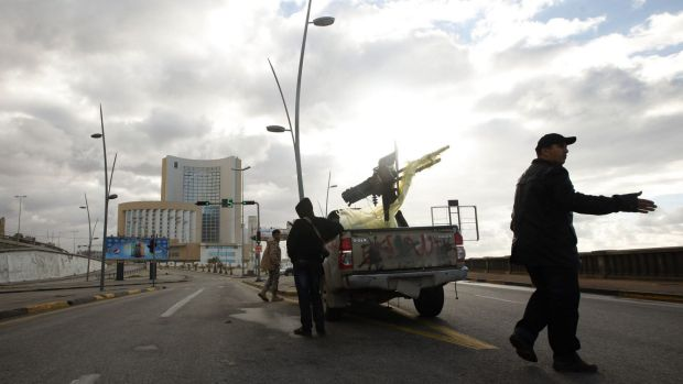 Response: Security forces near the Corinthia hotel in Tripoli.