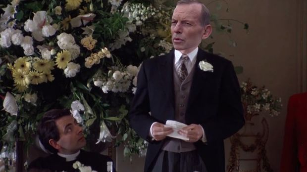 Awkward: Tony Abbott replaces Hugh Grant in <i>Four Weddings and A Funeral with Tony Abbott</i>.