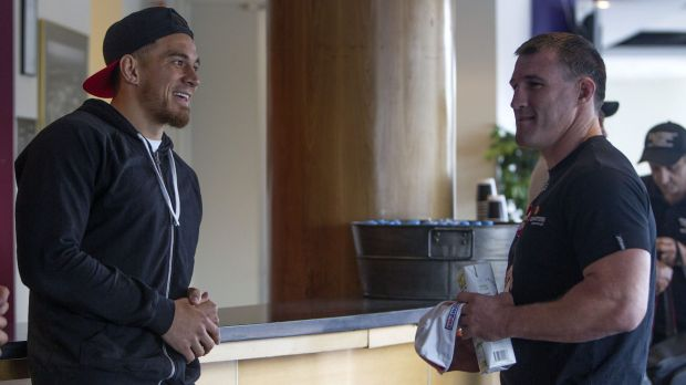 Fighting footballers: Sonny Bill Williams and Paul Gallen on Wednesday.