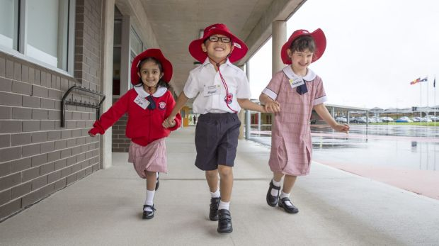 Ziya, Miguel and Madelina excited about their first day at Riverbank Primary school.