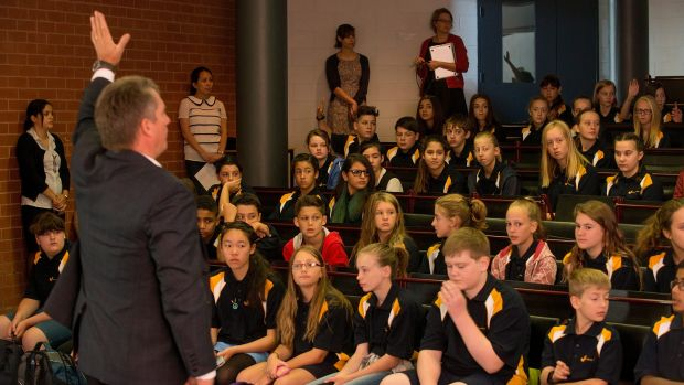 New year 7 students with principal Don Collins at Coburg High School.