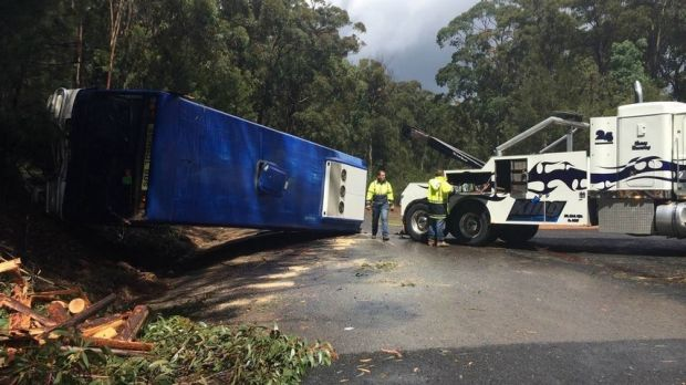 A bus with 20 students aboard has rolled over on the NSW south coast near Eden.