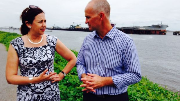 Opposition Leader Annastacia Palaszczuk with Labor's candidate for Gladstone Glenn Butcher.