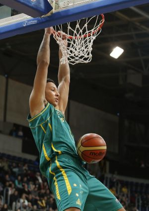 He got game: Ben Simmons dunks for the Boomers against New Zealand in 2013.