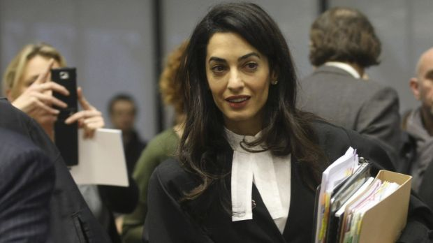 Amal Clooney, a member of a legal team representing Armenia at the European Court of Human Rights.