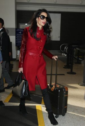 Amal Clooney seen at Los Angeles Airport on January 25.