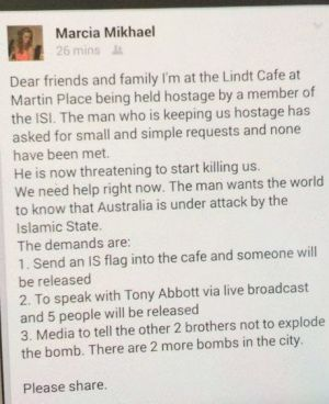 A Facebook post by hostage Marcia Mikhael.
