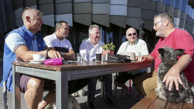 The Gentlemen of Docklands group meet each morning for coffee at the Mad Duck Cafe. From left to right. Shaun Bassett, ...