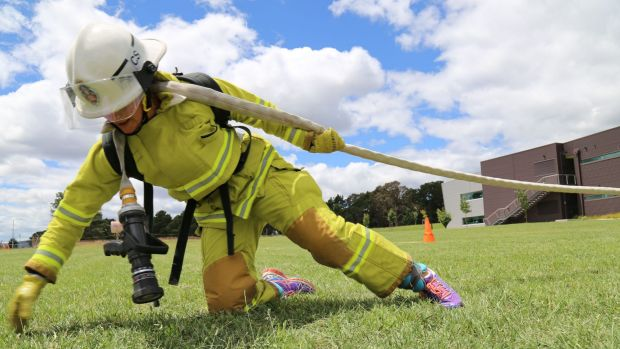 ACT Fire and Rescue firefighter Kari Harlovich tries out the new test at the ACT Emergency Services Agency headquarters ...