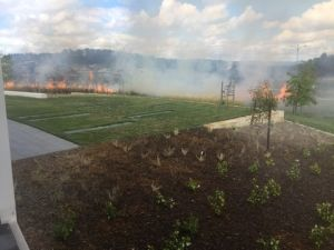 A photo of Wednesday's grassfire in Crace, taken from YourGP@Crace.