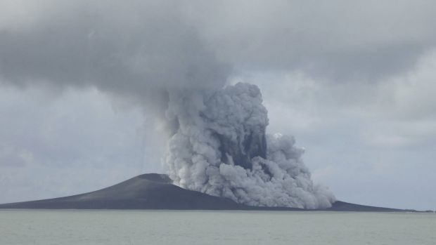 A volcano that has been erupting for several weeks near Tonga has created a new island in the ocean. This photo was ...