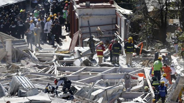 Emergency responders work search for survivors after gas tanker exploded, destroying a maternity hospital in Mexico City.