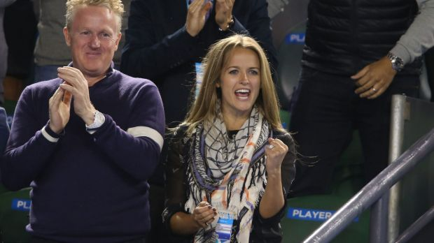 All over: Kim Sears celebrates after Andy Murray's victory.