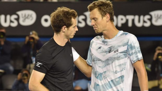 Tomas Berdych, right, congratulates Andy Murray after the Scot's victory.