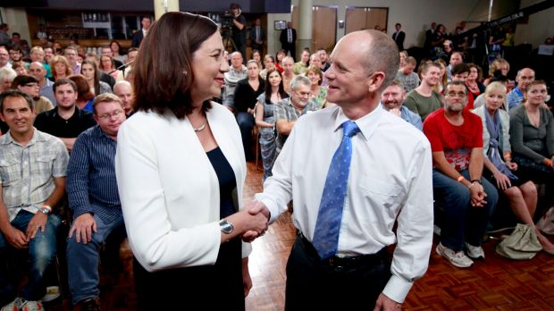 Premier Campbell Newman debates Opposition leader Annastascia Palaszczuk at the The People's Forum in Brisbane.