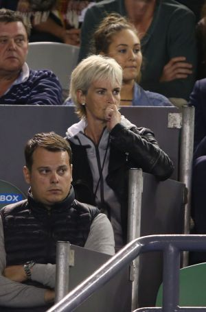 Andy Murray's mum Judy Murray watches him in his semifinal match against Tomas Berdych of the Czech Republic at the ...