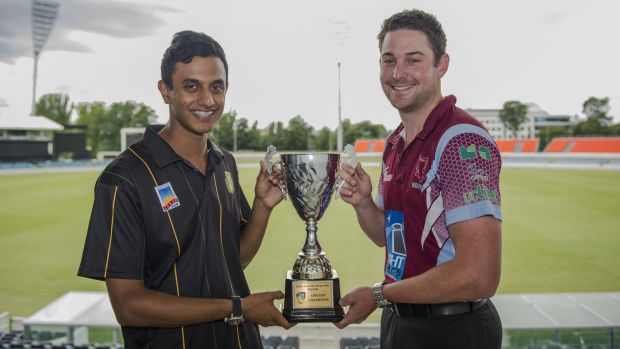 Weston Creek Molonglo's Kevin Jacob, left, and Wests player Joe Cooke before the ACT one-day final.