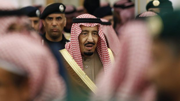 King Salman attends a ceremony with world leaders after the death of his predecessor King Abdullah.