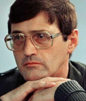 Apartheid death-squad leader Eugene de Kock listens to questions put to him by lawyers at the special public hearing of ...