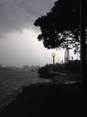 Storm clouds over the Brisbane River and South Bank.