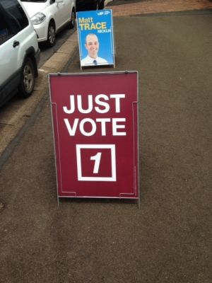 "A ""Vote 1"" election sign outside a Queensland polling booth in Nicklin."