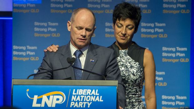 Campbell Newman and his wife Lisa address LNP supporters on election night. The Queensland premier lost his seat and his ...