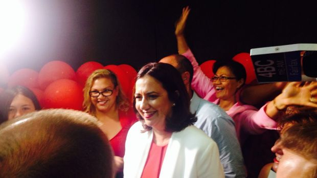 Queensland Labor Leader Annastacia Palaszczuk addresses Labor supporters on election night.