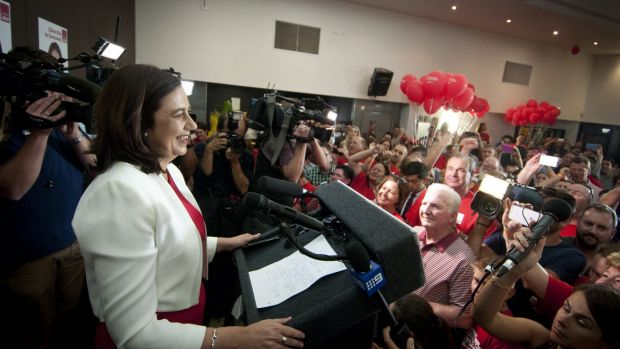 Labor leader Annastacia Palaszczuk is greeted by a jubilant crowd.