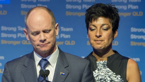 With wife Lisa by his side, Campbell Newman concedes defeat at the 2015 Queensland election.