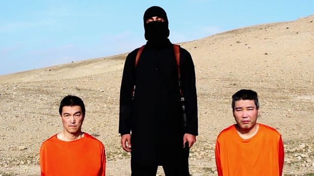An earlier video of the two Japanese hostages before their executions released by the Islamic State group's al-Furqan ...