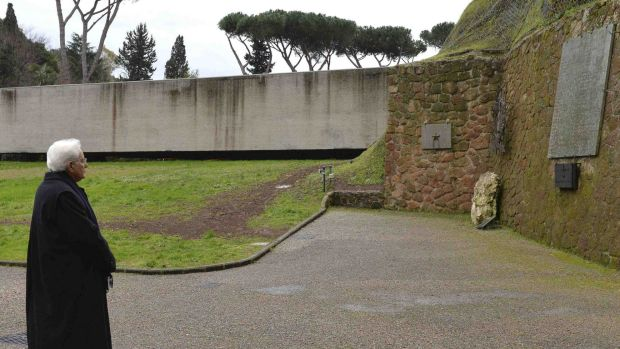 Mr Mattarella visits the National Monument and Memorial Cemetery of victims of German occupation in Rome after his election.