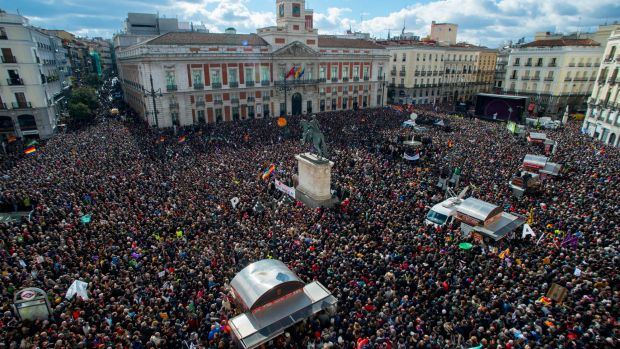 Supporters of the Spanish anti-austerity party Podemos gather at Puerta del Sol square in Madrid on Saturday.