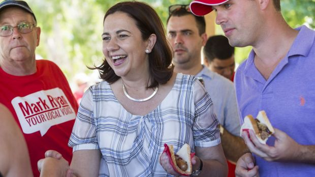A day after an unlikely Queensland election result, Annastacia Palaszczuk thanks supporters at a barbecue in Burpengary.