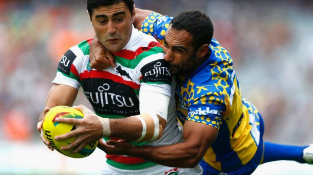Reece Robinson gets to grips with Bryson Goodwin at Eden Park last weekend.