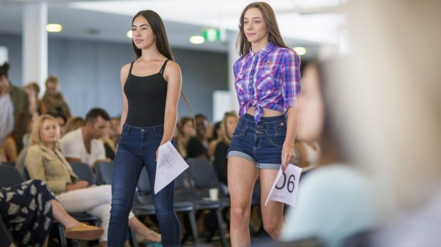Nicole Collins and Claire Mackey on the catwalk during the Fashfest model callout at the National Convention Centre, ...