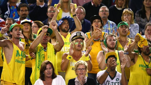 Aussie games were put on outside courts where the crowds were stirred up by the Fanatics.