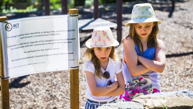 The ACT government has decided to repair rather than close a playground in Narranbundah meaning children like sisters ...