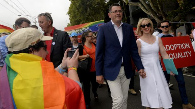 The Victorian Premier Daniel Andrews, with his wife Catherine, at the annual Pride March in St Kilda in 2015. The ...
