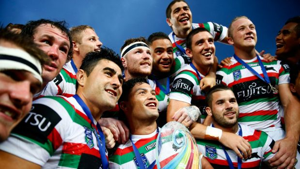 Champions again: Issac Luke and the Rabbitohs celebrate with the trophy following during the final between South Sydney ...