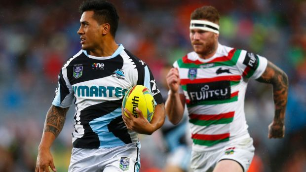 Renewed hope: Sosaia Feki of the Sharks runs in a try during the grand final match between the Rabbitohs and Cronulla in ...