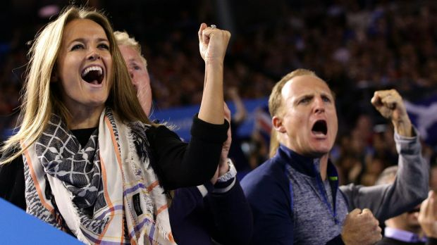 Support: Andy Murray's wife Kim  and team members cheer during the Australian Open men's singles final against Novak ...