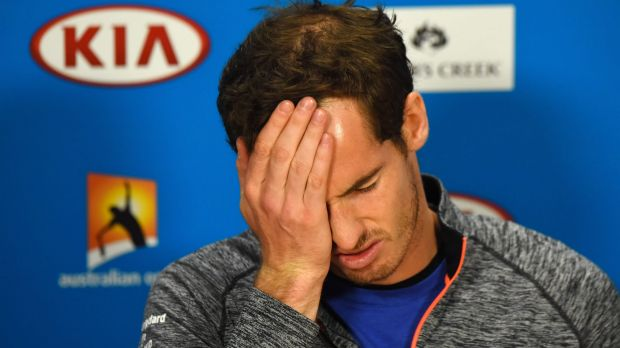 Woe is me: Andy Murray speaks to the media after another Australian Open final loss.