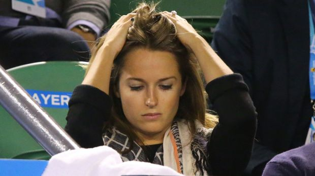 Abuse-free zone: Andy Murray's fiancee Kim Sears in a subdued mood after his defeat.