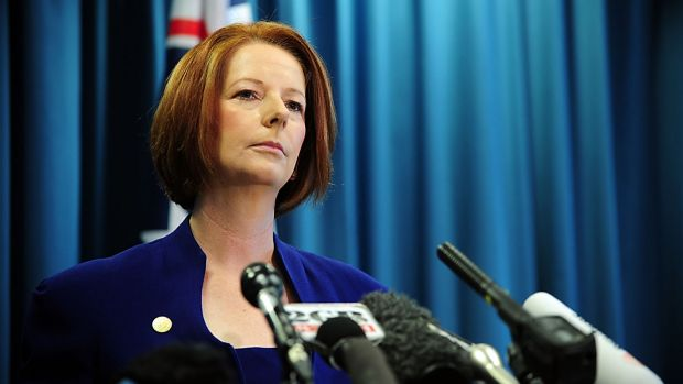 Former prime minister Julia Gillard was more popular than Prime Minister Tony Abbott at the 16-month mark of their first ...