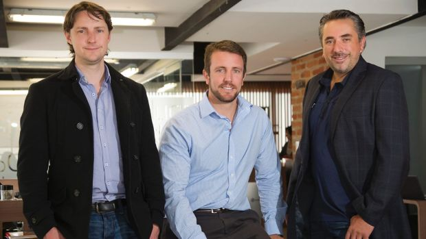 From left, LatAm Autos founders Gareth Bannan and Tim Handley with CEO Jorge Ribanadeira in Ecuador.