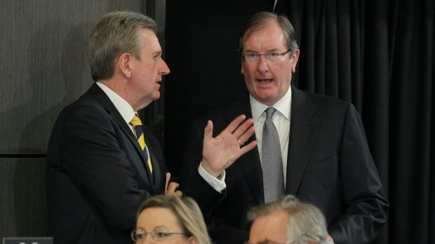 Loughnane with former NSW Liberal premier Barry O'Farrell in February 2015.