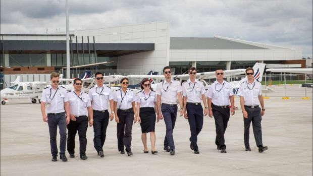 The Airline Academy of Australia aviation students at the Wellcamp Airport